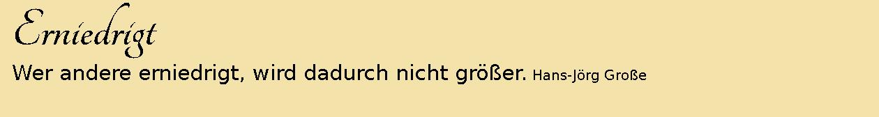 Erniedrigt ~ Aphorismen ~ Hans-Jörg Große
