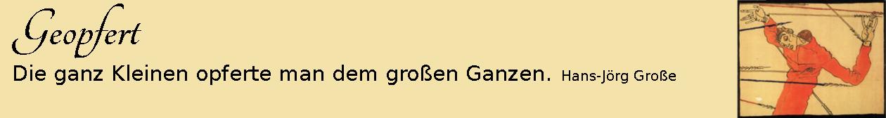 Geopfert ~ Aphorismen ~ Hans-Jörg Große