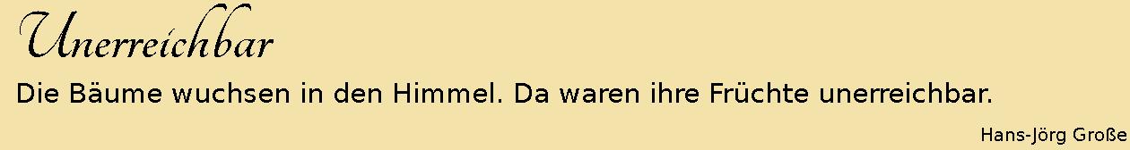 Unerreichbar ~ Aphorismen ~ Hans-Jörg Große