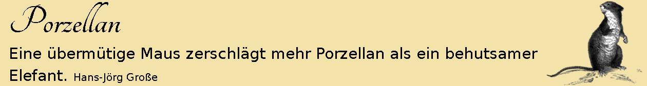 Porzellan ~ Aphorismen ~ Hans-Jörg Große