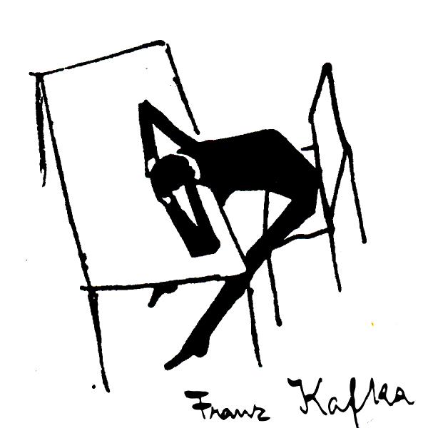 Franz Kafka ~ Mann mit Kopf auf Tisch