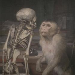 Gabriel von Max ~ Affe vor Skelett