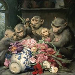 Gabriel von Max ~ Affen mit Blumenvase